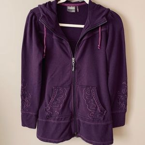 ATHLETA Purple Embroidered Zip-Front Hoodie - XXS